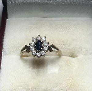 9ct Gold Sapphire Cluster Ring Size K Fully Hallmarked