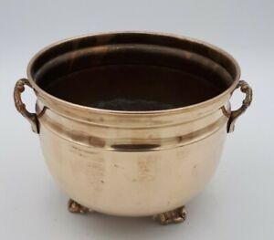 Antique Solid Brass Plant Pot Holder 13.5 cms Tall x 17.5 cms Rim size