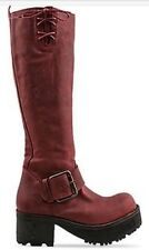 JEFFREY CAMPBELL RED BURGUNDY BUCKLED VING BOOTS SIZE 8 New $420