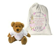 Personalised Teddy Bear & Gift Bag Girls 1st Birthday Keepsake.. Peter Rabbit