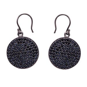 Gorgeous Round Black Spinel Gemstone 925 Sterling Silver Disk Earring SHER0469
