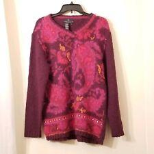 CAROLE LITTLE Knitwear Sweater Medium Purple/mulit-color Crochet Wool Blend