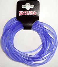 Pack of 12 Purple Gummy Bracelets Wristbands Bangles Boys Girls Mens Womens Kids