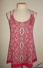 MAURICES MS SIZE MEDIUM BRIGHT PINK PAISLEY PRINT SPAGHETTI STRAPS FASHION TOP