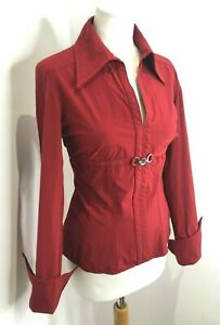 Karen Millen Y2K collared stretch fit buckle front long sleeve blouse shirt 14