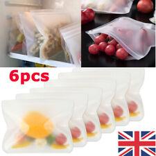 Resealable Silicone Food Storage Bags Freezer Seal Fresh Ziplock Vacuum Bags UK