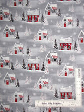 Christmas Winter Houses Gray Cotton Fabric HG&Co Holiday Homecoming By The Yard