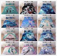 3D Hatsune Miku Bedding Set Anime Duvet Cover Pillowcase Comforter/Quilt Cover