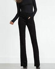 NWT Zara noir slim cropped flare velours pantalon 70' style Size Small