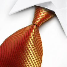 UK0063 Red Gold Yellow Striped New Silk Classic JACQUARD Woven Men's Tie Necktie