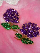 "Purple Rose Mirror Pair Sequin Floral Beaded Appliques 5"" (0074X)"