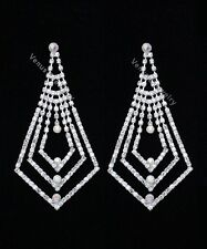 "4"" Bridal Prom Pageant AB Crystal Chandelier Earrings"