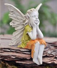 Miniature Garden Sitting Fairy Marigold, Elbows On Knees, New, Terrarium