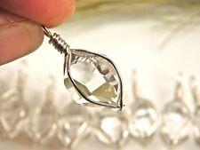 1 Genuine A+ GRADE 15-16 mm NY Herkimer Diamond Crystal Silver Pendant H55