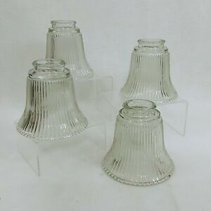 Ceiling Fan Hanging Vanity Light Shades Clear Ribbed Glass Bell Shaped 4 Pcs