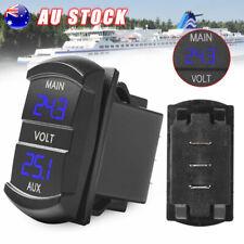 Dual Battery Volt meter Gauge Voltage Blue LED Digital Battery Monitor Socket AU