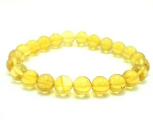 Genuine Dominican Amber Bracelet Beads Natural Stone 9.88 mm (11.7 G) a1297