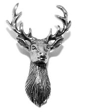 Stag Head Deer Pin Badge Brooch - Country Life Silvery (Made in UK)