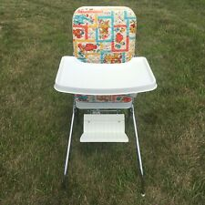 Vintage Comfort Lines Baby High Chair Vinyl Padded Folds Up Animal Pattern