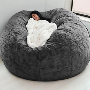 ⭐⭐⭐⭐⭐Microsuede 6ft Foam Giant Bean Bag Memory Living Room Chair Lazy Sofa Cover