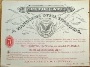 Arbucke's Ariosa Coffee 1890s Ad Item: Certificate for Steel Engraving w/$1 Coin
