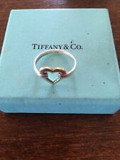 Tiffany & Co Silver & 18K Yellow Gold Heart Ring size Approx 6 1/2 UK