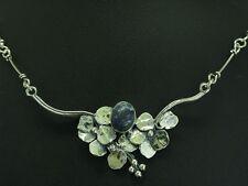 925 Sterling Silber Collier mit Blauquarz Besatz / floral / 10,8g / 45,0 cm