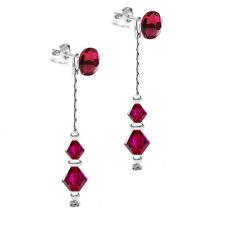 925 Sterling Silver Dangle Long Earrings *2in1* RUBY Genuine Swarovski® Crystals