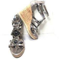 Women's RAMPAGE Metallic Gold Jeweled Caged Cork Wedges Pumps Size 9.5 M