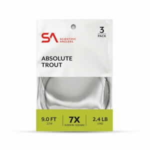 NEW 3 PACK SCIENTIFIC ANGLERS ABSOLUTE TROUT 9' 6X 3.5 LB TAPERED LEADER