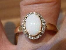 NUOVO 9 Carati Oro Giallo Opale E Diamanti Anello Taglia o