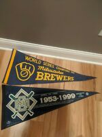 2 MLB Milwaukee Brewers Vintage 1982 AL Champs 1999 Cubs Limited Pennants