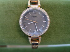 Fossil Georgia Rose Gold-tone Gray Face Steel Coral Bracelet Ladies Watch