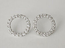 Sovats Solid 925 Sterling Silver White CZ Tiny Circle Stud Earrings Jewellery