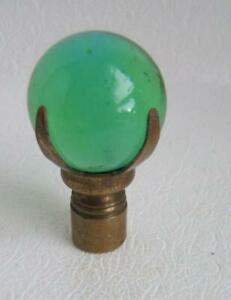 VINTAGE GREEN CLEAR GLASS LAMP FINIAL