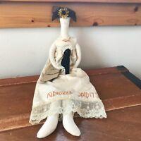 Estate Long Handmade Folk Art Kindred Spirit Doll with Cream Dress Black Crow