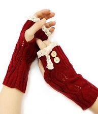 Vintage brick red lace double button accent open finger knit glove arm warmers