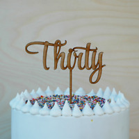 Wooden Thirty Cake Topper, Birthday or  anniversary 30th cake decoration, Rustic
