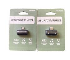 Headphone Splitter for iPhones * IPads - Charge, Listen... 2 Pack