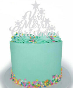 Very Merry Christmas Snow Flake Cake Topper Decoration Glitter Any Colour