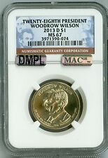 2013 D NGC MS67 MAC DMPL, $1 28TH PRESIDENT WILSON DOLLAR, 2nd TOP REG, LUSTER