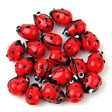 20 Red Lampwork Glass Ladybug Ladybird Loose Beads 12mm HOT T1