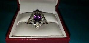 Amethyst  Silver Ring - size 8