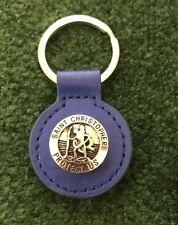 St Christopher Keyring Leather Keyfob Free Patron Saint Travellers Post UK Blue