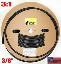 "4 FEET  - 3/8"" (9.5 mm) DUAL WALL Black Heat Shrink Tubing  3:1  Glue Lined Tube"