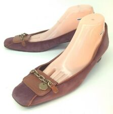 J Crew Womens Shoes Loafers US 11 Purple Suede Brown Leather Chain Italy 5767