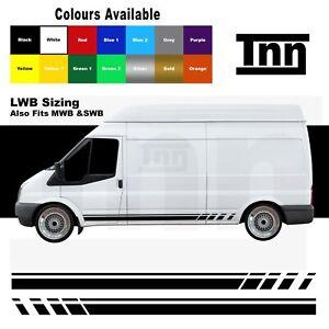 Side Stripe Stickers Decals Vinyl Graphics For Ford Transit LWB MWB SWB Van