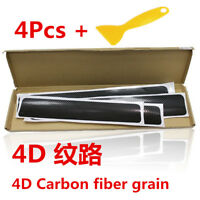 4PC 4D Car Accessories Door Sill Scuff Welcome Pedal Protect Carbon Fiber BLK