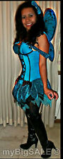 Blue Fairy Nymph Butterfly Wings Dress Halloween Costume size Adult Women XS 0-2