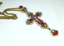 Seltenes großes Kreuz Pektorale Russland 19 Jh. Bronze Emaille Russia